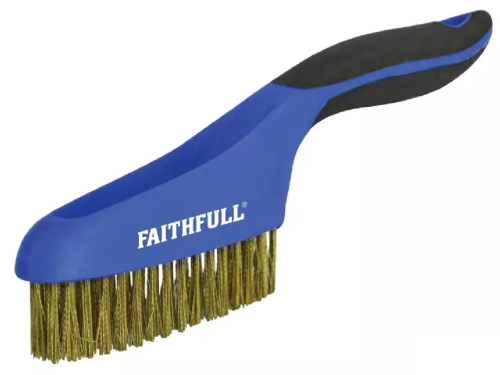 Faithfull FAISB164SB Soft Grip Brass Wire Scratch Brush 4 x 16 Row